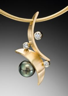"Adam Neeley ""Flamenco"" Pendant - Modern, Curvaceous, Intense Curves Of Yellow Gold Dance With An Tahitian Pearl With Rare Peacock Overtones Carats Total Of VS G Diamonds. Contemporary Jewellery, Modern Jewelry, Jewelry Art, Gold Jewelry, Jewelery, Fine Jewelry, Fashion Jewelry, Pearl Jewelry, Pendant Jewelry"