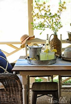 This time of year is perfect for lemonade on the porch. We love these plastic cups, metal tray and ice container all from @homegoods  (sponsored pin)