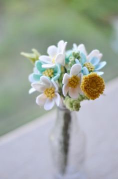 Daisy Dandelion & Wildflower Felt Flower Bouquet by LeaphBoutique