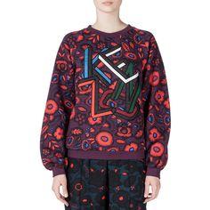 Kenzo Shadow Flower Kenzo Sweatshirt (1,155 SAR) ❤ liked on Polyvore featuring tops, hoodies, sweatshirts, prune, purple sweatshirt, floral sweatshirt, sweater pullover, crew-neck sweatshirts and long sleeve sweatshirt