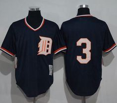 6d1743a5c Mitchell and Ness 1984 Tigers #3 Alan Trammell Blue Throwback Stitched MLB  Jersey Detroit Tigers