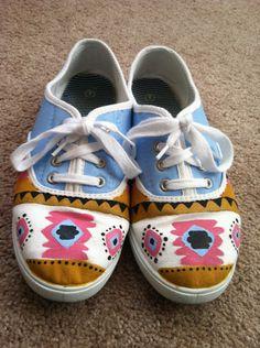 Aztec/Tribal Print Canvas Shoes. $ 33.00, via Etsy.