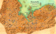 Stonefalls zone map. Ebonheart, Davon's Watch. Central part of Ebonheart Pact Alliance territory ranging from fungal forests to barren volcanic crags. Elder Scrolls Online: Tamriel Unlimited. Locales, Wayshrines, Skyshards, Solo, Public and Group Dungeons, Cities, World Bosses, Taverns, Dark Anchors, Quest Hubs, Lore Books, Merchants, Crafters. The Elder Scrolls Online - ESO Maps, Guides & Walkthroughs.