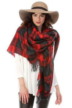 Women's Plaid Oversized Blanket Scarf/Wrap With Fringe in Red Red Plaid Scarf, Fall Must Haves, Fall Scarves, Blanket Scarf, Womens Scarves, Scarf Wrap, What To Wear, Boutique, Shopping