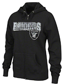 Oakland Raiders Women's Football Classic IV Full Zip Hoodie Sweatshirt - Black