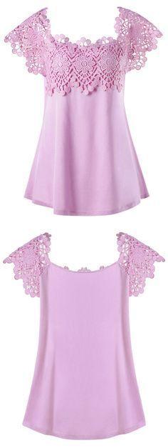 $16.87 Plus Size Lace Trim Cutwork T-shirt - Pinkish Purple