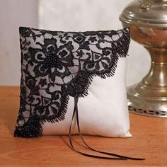 Baroque ring bearer pillow This Black Lace ring pillow is ideal for a baroque themed wedding. It measures 20 x 20 cm. The pillow is white satin covered with a black piece of lace. Black beads adorn the lace for a chic touch. Ring Bearer Pillows, Ring Pillows, Throw Pillows, Pillow Crafts, Deco Retro, Cushion Cover Designs, Lace Ring, Ring Pillow Wedding, Wedding Ring
