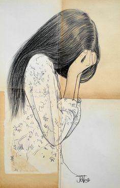 "Saatchi Online Artist: Loui Jover; Conte 2013 Drawing ""her sorrow (SOLD)"""