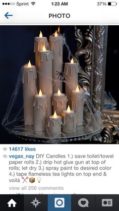DIY Candles save toilet/towel paper rolls drip hot glue gun at top of rolls; let dry spray paint to desired color tape flameless tea lights on top end voilà- super cool for Halloween! Casa Halloween, Halloween Candles, Diy Halloween Decorations, Holidays Halloween, Halloween Crafts, Holiday Crafts, Holiday Fun, Happy Halloween, Halloween Party