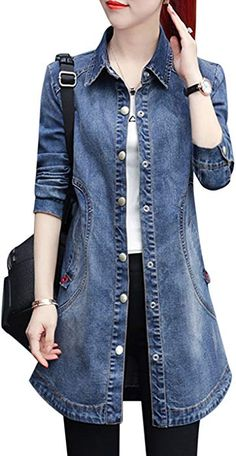 online shopping for Liengoron Women's Casual Long Sleeve Stand Collar Denim Jean Baseball Jacket Outerwear from top store. See new offer for Liengoron Women's Casual Long Sleeve Stand Collar Denim Jean Baseball Jacket Outerwear Denim Tunic, Jeans Denim, Denim Coat, Coats For Women, Jackets For Women, Clothes For Women, Denim Fashion, Fashion Outfits, Moda Jeans
