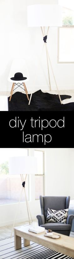 DIY Tripod Lamp - this is an IKEA Hack!  Love it!  Such a great DIY home decor idea!