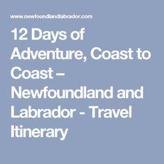 12 Days of Adventure, Coast to Coast – Newfoundland and Labrador - Travel Itinerary Newfoundland And Labrador, East Coast, 12 Days, Adventure, Travel, Bucket, Canada, Places, Viajes
