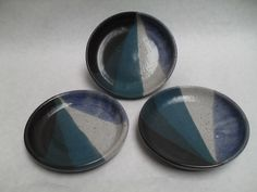 """Large Cat Dishes - ~5"""" diameter and 1"""" tall -Blue/Green Fans"""