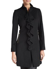 Kendra Ruffle-Front Coat, Black   by T Tahari at Neiman Marcus.