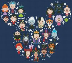 BOGO FREE Disney Mickey Villains Large Cross by ElCrossStitch