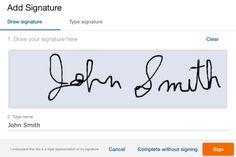 Handwritten Signature on Online Forms