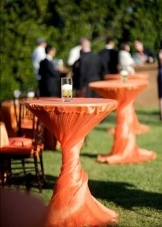 Maybe in white or gray burlap; cool idea that could be taken further. Hostess with the Mostess® - Oceanfront, Tropical, Eco-Green Wedding Part I Reception Table, Wedding Table, Wedding Reception, Wedding Ideas, Reception Ideas, Wedding Decor, Cocktail Table Decor, Cocktail Tables, Orange Wedding Colors