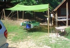 camping tarp set up. Step by step instructions for home made dining fly.