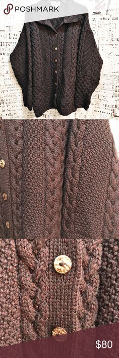 Vintage Sweaters of Ireland Merino Irish Knit Wool This vintage sweater is absolutely gorgeous! Brand is Sweaters of Ireland - hand-finished beautiful cable knit with beautiful marbled buttons. 100% Irish Merino Wool. Made in Ireland of traditional Irish stitches. Vintage Sweaters Cardigans