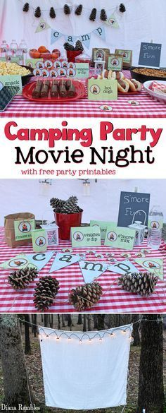 Camping Party Movie Night with Free Party Printables - Love to go camping but can't leave home? Host a camping party in your backyard with these free camping themed printables. Perfect for a birthday party or movie night. AD #YourTaxCash