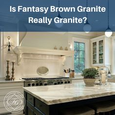 Geologically speaking, Fantasy Brown consists of calcium carbonate which makes it akin to marble, a natural metamorphic rock. Granite Countertops Colors, Granite Colors, Kitchen Redo, Kitchen Remodel, Kitchen Design, Granite Bathroom, Granite Kitchen, Fantasy Brown Granite, Home Remodeling
