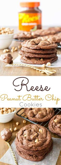 Ultra chewy peanut butter chip cookies made with Reese Chocolate Peanut Butter Spread. Peanut Butter Chip Cookies, Peanut Butter Recipes, Best Cookie Recipes, Chocolate Chip Cookies, Cookie Desserts, Fun Desserts, Delicious Desserts, Dessert Recipes, Cake Recipes