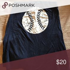 Navy tub top: Baseball screen print Bought from Etsy. SUPER comfortable. Sheer, does not have a bra top, but a bandeau would be perfect underneath for coverage. Pairs well with a bikini bottom, shorts, or a skirt! Never worn. Tops Tank Tops