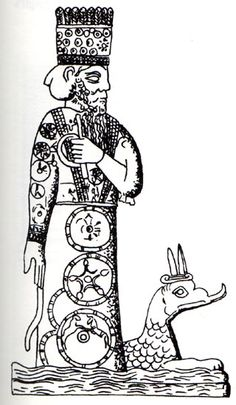 """MARDUK:  Literally, """"bulf calf of the sun"""". The son of Ea, and leader of the gods. He was a fertility god, but originally a god of thunderstorms. His consort was Sarpanitu"""