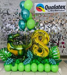 Dinosaur Balloons, Bubble Balloons, Letter Balloons, Birthday Balloon Decorations, Balloon Centerpieces, Birthday Balloons, Dinosaur Birthday Party, Birthday Party Themes, Balloon Bouquet Delivery