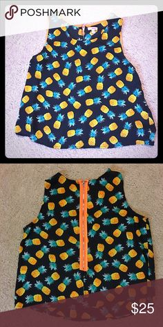 "🍍 Pineapple Zip up tank🍍 🍍Be sweeter than fruit!🍍 This fun zip up tank by Bongo, is sure to make your day sweeter without a single bite! This shirt is perfect over a button up, or bustled with your favorite leggings or jeans! Measurements: length: 21"", width: 20"", says juniors' large, but fits like a medium in women's. Brand for exposure. Brandy Melville Tops Tank Tops"