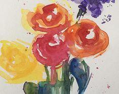 ORIGINELE aquarel aquarel briefkaart foto kunst schilderij boeket bloemen van aquarel bloemen