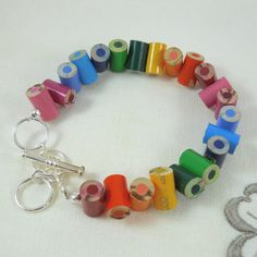Colored Pencil Beaded Bracelet Charm Bracelet by miceart,15.00