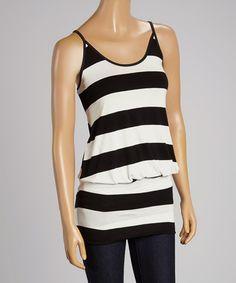 Look what I found on #zulily! Black & White Stripe Sleeveless Tunic #zulilyfinds