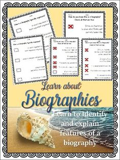 Students identify and explain Features of a Biography, it is perfect for incorporating into lesson plans or for use as a stand alone lesson. Worksheets, Answer Sheets, Certificate of Completion, with 22 pages total.