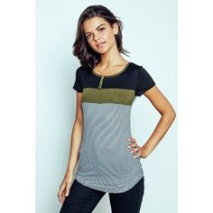 Block Colour Stripe Tee With Necklace Urban Planet, Color Stripes, Striped Tee, Color Blocking, Basic Tank Top, Colour, T Shirts For Women, Tank Tops, Tees