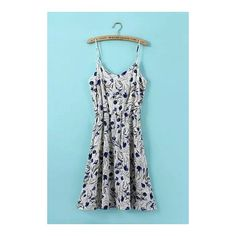 Floral Printing Cami Dress ($22) ❤ liked on Polyvore featuring dresses, blue sleeveless dress, floral dress, floral cami, v-neck dresses and blue v neck dress
