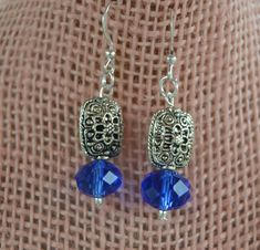 Blue Crystal Earrings Blue and Silver Square by DebWiseCreations