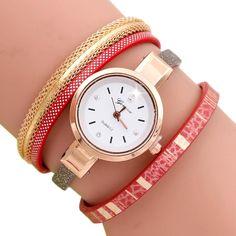 Fashion Wave Point Analog Quartz Watch Women Leather Band Watch Bracelet Watch