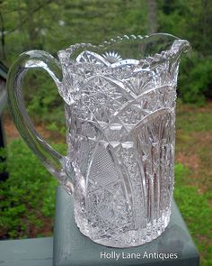Early American Pressed Glass Pitcher by 4HollyLaneAntiques on Etsy, $68.00