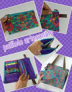 Carteira com várias divisões e tecidos Renata Blanco.