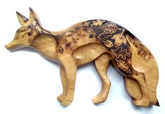 Carved Wood Fox Wall Hanging with Pyrography by GlenoutherCrafts
