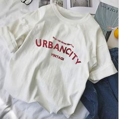 Funny Letters, Aesthetic T Shirts, Casual T Shirts, Casual Tops, Shirts For Girls, Printed Shirts, Shirt Designs, Gender, Tees