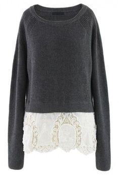 Grey Knit Sweater with Floral Crochet Hemline