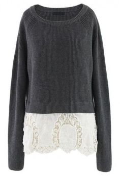 Grey Knit Sweater with Floral Crochet Hemline
