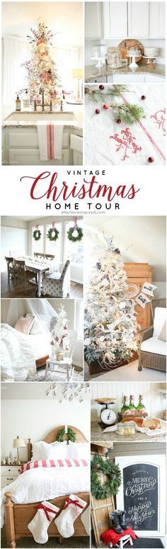 A Christmas Home Tour packed with vintage charm, flocked Christmas trees, live wreaths and more by Ella Claire.