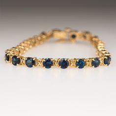 "10 Carat Blue Sapphire Tennis Bracelet 14K Gold 6.75"""