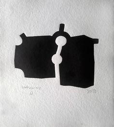 """Eduardo Chillida    Grabado Xilografico  """"Zubi"""" [1989]  Tirada de 50 ejemplares. Numerados y firmados. 24.5 x 21 cm"""