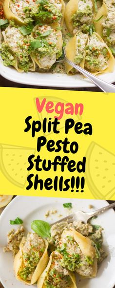 These vegan stuffed shells are the perfect comfort food to help you transition into Fall weather… Ingredients 1 cup dry green split peas 2 cups water, divided cup tightly packed fresh… Vegetarian Split Pea Recipe, Vegetarian Recepies, Pea Recipes, Lentil Recipes, Vegan Recipes Easy, Vegan Ideas, Vegan Stuffed Shells, Green Split Peas, Vegetarian Recipes