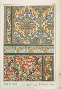 Motifs Art Nouveau, Design Art Nouveau, Art Nouveau Pattern, Art Design, Book Design, Eugene Grasset, Street Art, Solomons Seal, Poster Art