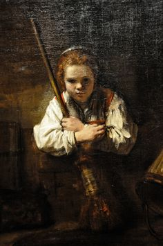 Rembrandt workshop (Possibly Carel Fabritius), A Girl with a Broom, probably begun and completed National Gallery of Art, Washington, DC Rembrandt Portrait, Rembrandt Paintings, National Art, National Gallery Of Art, Art Occidental, Art Français, Dutch Golden Age, Dutch Painters, European Paintings